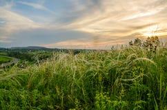 Заход солнца кармазина лета Стоковое Изображение RF