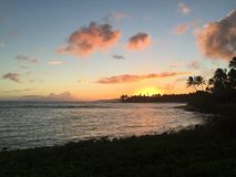 Заход солнца Кауаи Стоковые Изображения RF