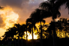 Заход солнца Кауаи Стоковое Изображение