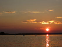 Заход солнца каяка Стоковая Фотография