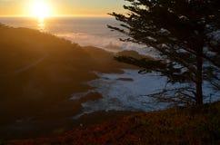 Заход солнца Калифорнии прибрежный Стоковые Фотографии RF