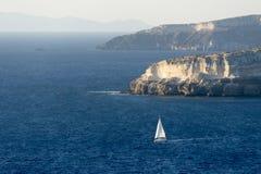 заход солнца корабля sailing ландшафта 3d Стоковые Фото