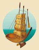 заход солнца корабля sailing ландшафта 3d Стоковые Фотографии RF