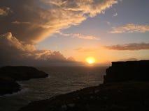 Заход солнца Корнуолла с синью Стоковые Фотографии RF
