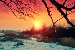 Заход солнца красивой зимы сельский Стоковые Фото