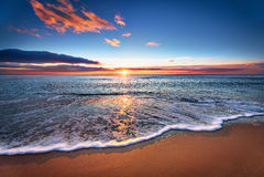 Заход солнца Красивый заход солнца на Чёрном море Стоковая Фотография RF