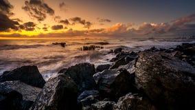Заход солнца Красивый заход солнца Чёрное море Заход солнца моря золота Море изображения Стоковое Изображение RF