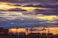 Заход солнца крыши Стоковые Фото