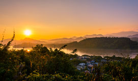 заход солнца Лаоса Стоковое Изображение