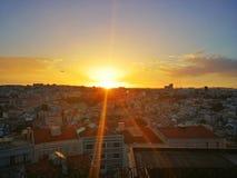 Заход солнца Лиссабон Стоковые Изображения RF