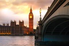 Заход солнца Лондона парламент домов ben большой Стоковые Изображения