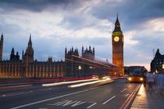 Заход солнца Лондона парламент домов ben большой Стоковое Изображение