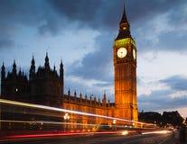 Заход солнца Лондона парламент домов ben большой Стоковое Фото