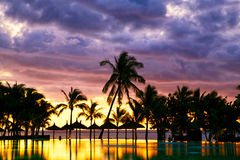 Заход солнца Маврикия стоковые изображения rf