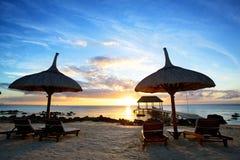Заход солнца Маврикия стоковые фотографии rf