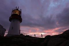 Заход солнца маяка Норвегии Стоковое Фото