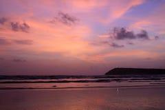 Заход солнца & маяк Стоковые Изображения RF