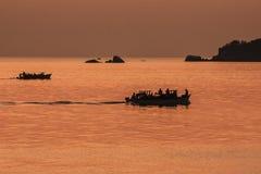 Заход солнца Малави озера стоковое фото rf