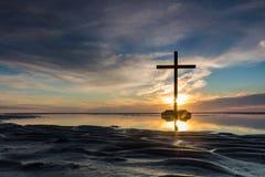 Заход солнца малой воды перекрестный Стоковая Фотография RF