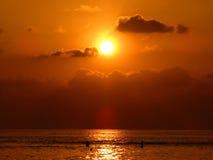 Заход солнца Мальдивов известный Стоковая Фотография RF