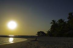 Заход солнца Мальдивов Стоковые Изображения