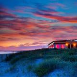 Заход солнца Менорки в пляже Bou сына Alaior на Balearics Стоковое Изображение