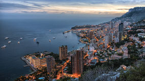 Заход солнца Монако Монте-Карло Стоковое Изображение