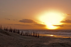 Заход солнца, море, пляж и дюны Стоковое Изображение RF