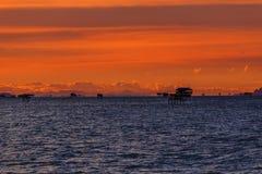 Заход солнца море стоковая фотография