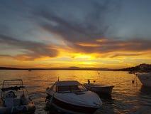 Заход солнца - море Стоковое фото RF