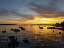 Заход солнца - море Стоковая Фотография