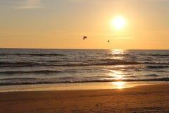 заход солнца моря вечера осени прибалтийский Стоковая Фотография RF