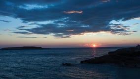 Заход солнца моря в Kamenjak в Хорватии видеоматериал