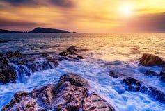 Заход солнца моря или восход солнца моря Стоковые Фото