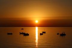 Заход солнца моря, красивая естественная сцена 2 стоковое фото rf