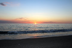 Заход солнца моря, красивая естественная сцена 4 Стоковое Изображение RF