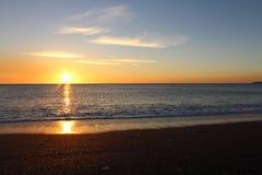 Заход солнца моря, красивая естественная сцена Стоковая Фотография RF