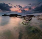 Заход солнца моря около Burgas, Болгарии Стоковые Фото