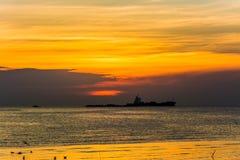 заход солнца моря панорамы ландшафта 3d рай природы элемента конструкции состава Стоковые Фото