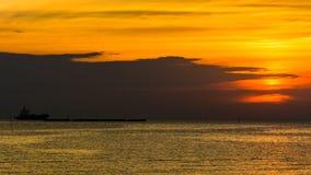 заход солнца моря панорамы ландшафта 3d рай природы элемента конструкции состава Стоковая Фотография RF