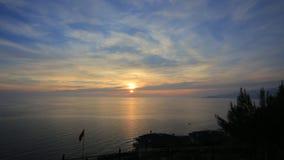 заход солнца моря панорамы ландшафта 3d сток-видео