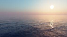 заход солнца моря панорамы ландшафта 3d Стоковое Фото