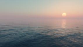 заход солнца моря панорамы ландшафта 3d Стоковое Изображение