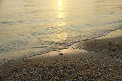 заход солнца моря панорамы ландшафта 3d Стоковые Изображения