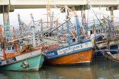 заход солнца моря рыболовства шлюпки Стоковое Изображение