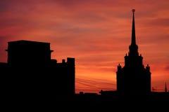 Заход солнца Москвы Стоковая Фотография