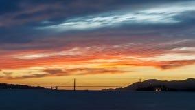 Заход солнца моста золотого строба Стоковое фото RF