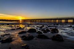 Заход солнца моста пункта порошка Стоковые Изображения RF
