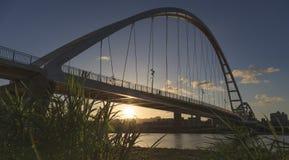 Заход солнца моста луны в вечере Стоковая Фотография RF