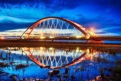 Заход солнца моста цвета красный, Chuk Yuen, Taoyuan County, Тайвань Стоковое Изображение RF